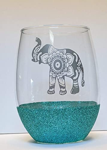 Amazon Mandala Elephant Glitter Stemless Wine Glass