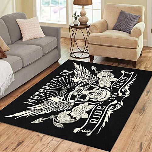 Pinbeam Area Rug Rider Motorcycle Skull Helmet Wings Tattoo and Patch Home Decor Floor Rug 5' x 7' Carpet