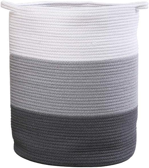 HBIAO Cestos de Lavadora para Ropa Sucia Tejidas en algodón, Cesta Tejida con Asas Organizador de guardería Infantil Guardería para mantos Juguete Compartimiento de Almacenamiento: Amazon.es: Hogar