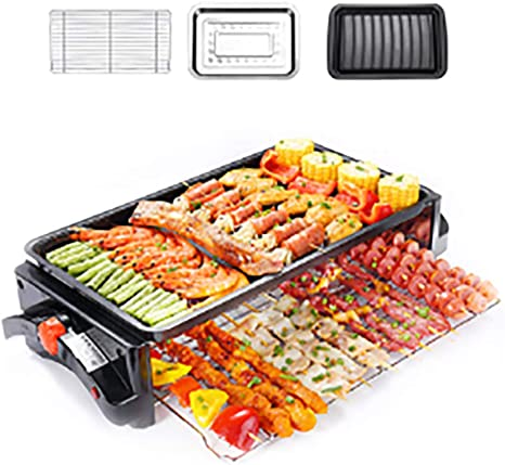 Double Layer Grilling And Non Stick Electric Griddle Also With Temperature Control For Eggs Pancakes And More Amazon Co Uk Sports Outdoors