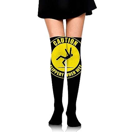 Not afraid Women Thigh High Over Knee Caution Slippery When Wet Long Tube Dress Legging Soccer
