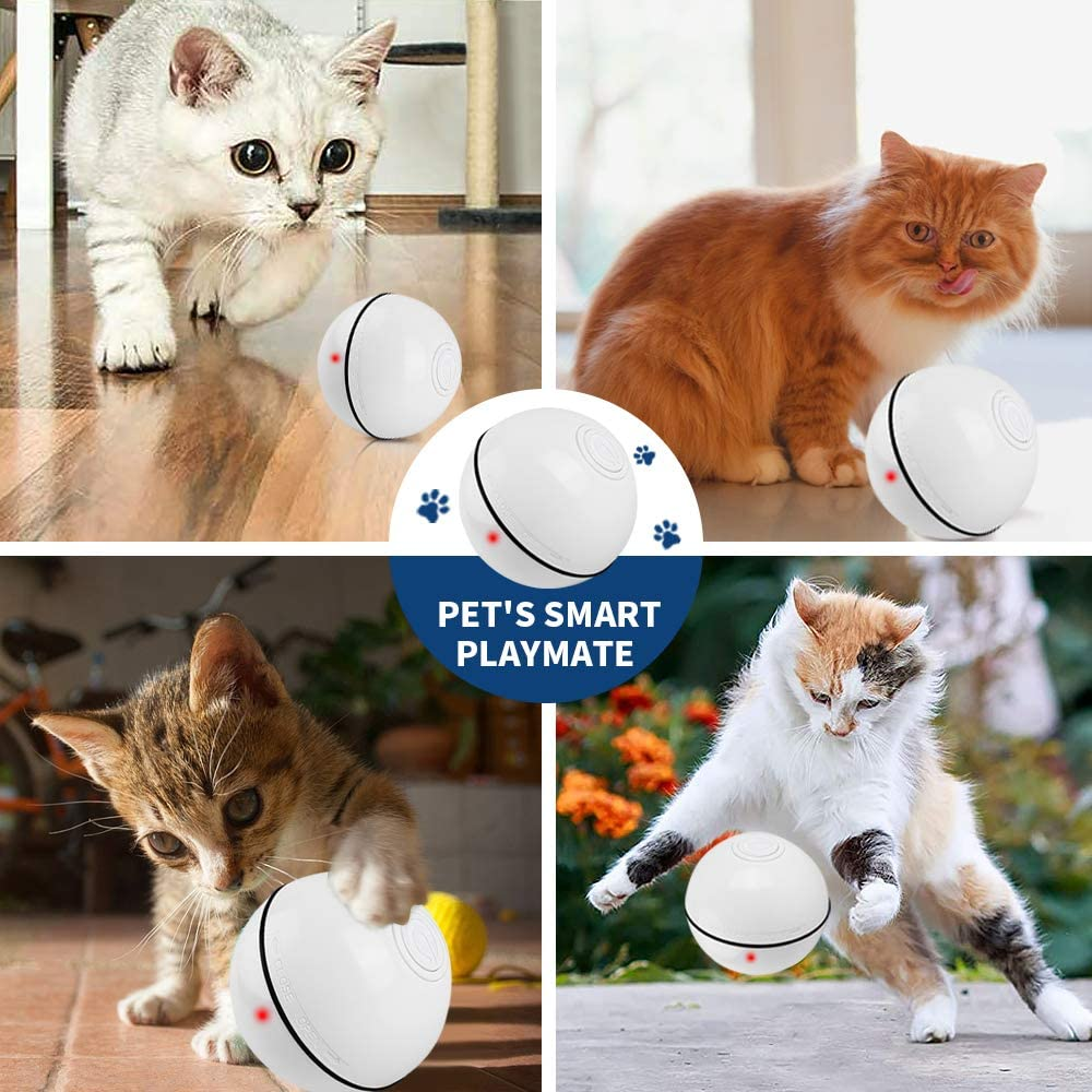 OUTOPE Interactive Cat Toy Ball USB Rechargeable Interactive Cat Ball Pet Entertainment Balls Self-Rotating 360 Degree Ball Electric Cat Ball with LED Light