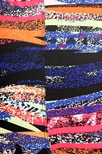 Leggings Mania Women's Plus Geo Stripe Print High Waist Leggings Purple Orange, Plus One Size Fits Most (12-22), Geo Stripe by Leggings Mania (Image #3)