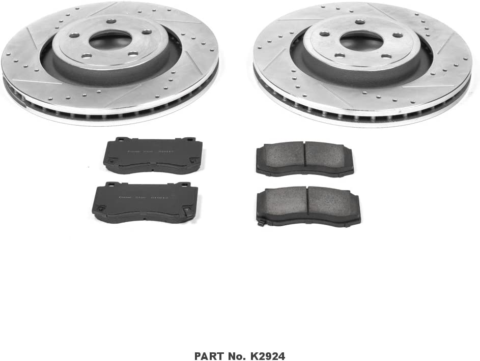Power Stop K2924 Front Brake Kit with Drilled//Slotted Brake Rotors and Z23 Evolution Ceramic Brake Pads,Silver Zinc Plated