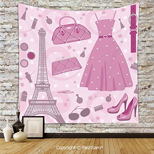 Tapestry Wall Blanket Wall Decor Paris Fashion Atelier French Boutique Feminine Glamor Eiffel Decorative Home Decorations for Bedroom(W51xL59) -