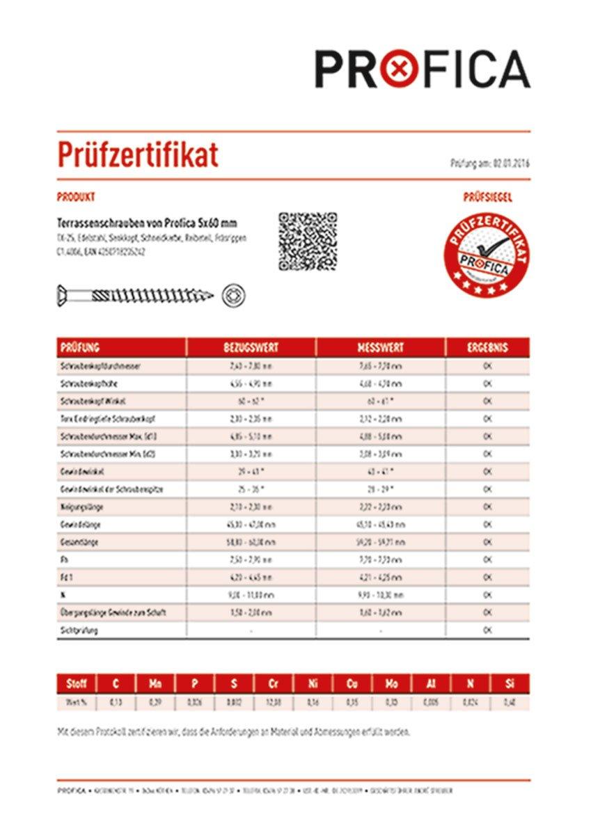 Guide Terrasses Construction profica/ /Terrasse profica Bits 200/vis acier inoxydable 5/x 60/mm