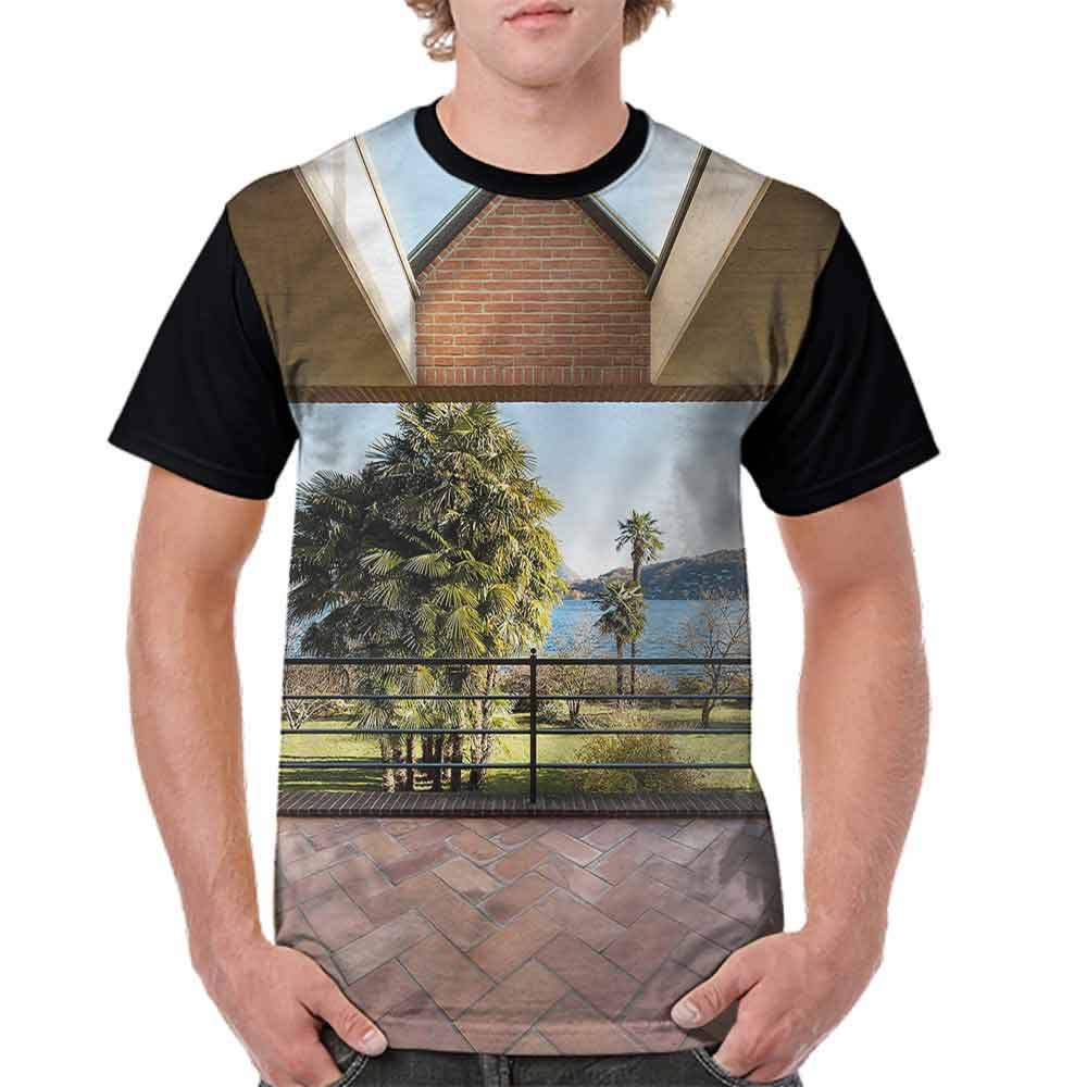 BlountDecor Printed T-Shirt,Summer Terrace Mountain Fashion Personality Customization