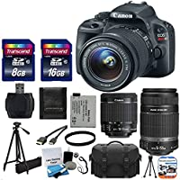 Canon EOS Rebel SL1 18.0 MP CMOS Digital SLR with EF-S 18-55mm F3.5-5.6 IS STM with Canon EF-S 55-250mm STM f/4-5.6 IS Image Stabilizer Telephoto Zoom Lens + Extra Battery + Tripod 17pc Bundle with 24GB SD Card Complete Deluxe Accessory Kit Noticeable Review Image