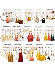 93 Pairs Colorful Earrings with Tassel Earrings Layered Ball Dangle Hoop Stud Jacket Earrings for Women Girls Jewelry Fashion and Valentine Birthday Party Gift