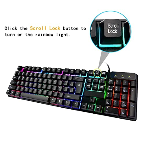 Amazon.com: Attoe Gaming Keyboard,Wired Mechanical Feeling Backlit Gaming Keyboard with LED Rainbow Breathing Light - 104 Key Computer PC PS4 Gaming ...