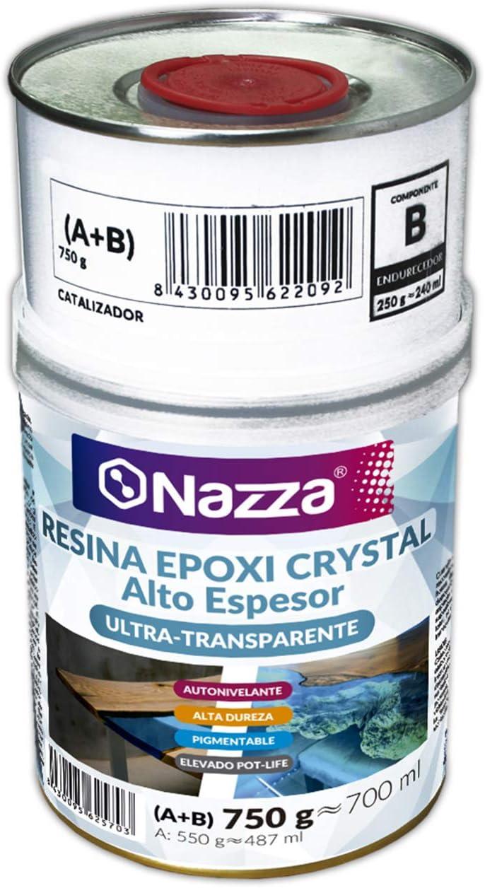 Resina Epoxi Crystal Nazza para Capas de Alto Espesor | Hasta 10 cm de Grosor en UN SÓLO VERTIDO | Especial para Coladas | Con Filtro UV y Elevado Pot Life | 750 gr. (A+B)