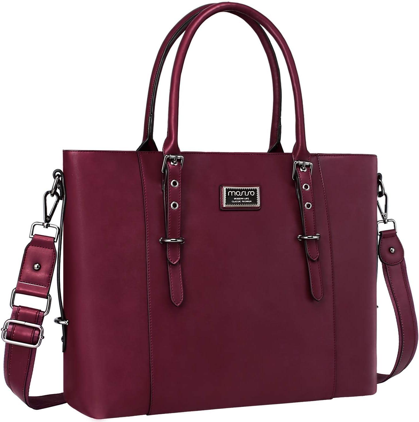 Laptop Bag for Women,15.6 Inch Multi Pocket Padded Laptop Tote Bag,Padlock De...