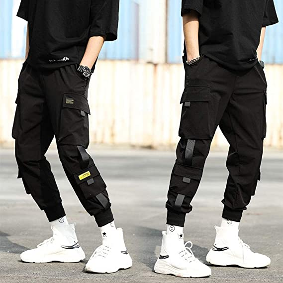 Yiwa Pantalones Cargo Harem Para Hombres Cintas De Moda Bolsillos Multiples Pantalones Deportivos Sueltos De Color Solido Amazon Com Mx Ropa Zapatos Y Accesorios