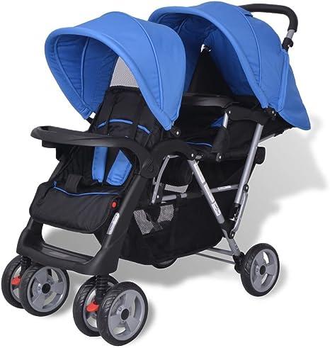 Opinión sobre yorten Carrito para 2 Bebés Tandem con Cesta Grande Cochecito Tandem Estructura de Acero Versátil 118 x 41 x 108 cm Azul y Negro