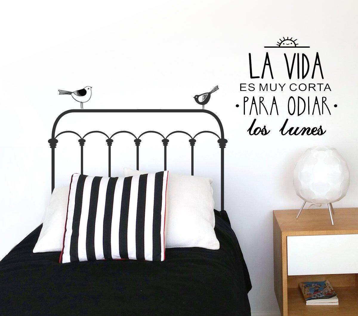 Frase vinilo la vida es muy corta vinilos decorativos for Programa para decorar habitaciones online