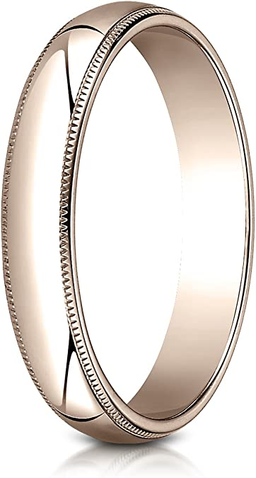 Sizes 4-15 Benchmark 14K Rose Gold 4mm Slightly Domed Traditional Oval Wedding Band Ring