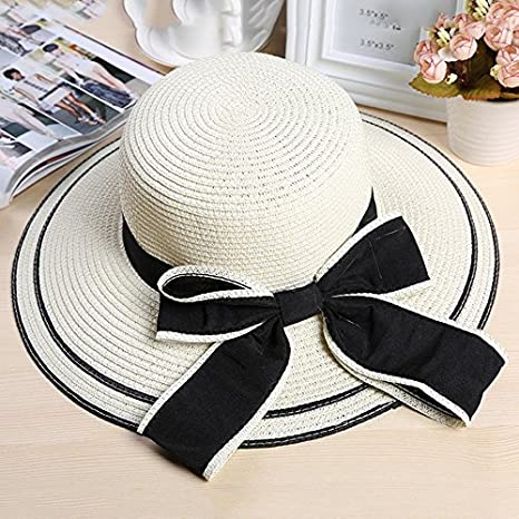 1e99ae79d3d9e Image Unavailable. Image not available for. Color  LoLa Ling Sun Hat Big  Black Bow Summer Hats for Women Foldable Straw Beach Panama Hat