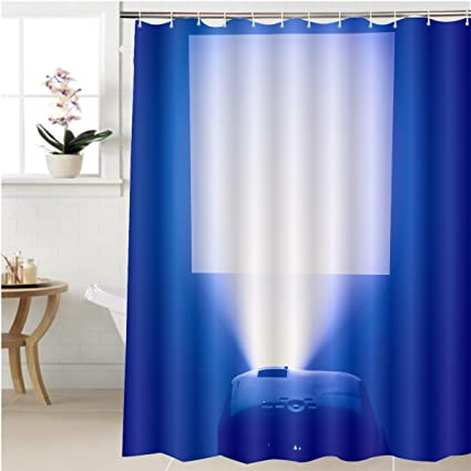 Gzhihine Shower Curtain Projector In Action With Illuminated Screen Bathroom Accessories 60 X 78 Inches