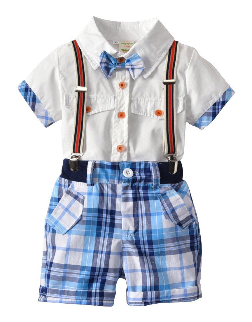 Kids Little Boys Gentleman Plaid Suit Bowtie Shirt Bid Short Overall Clothes Set
