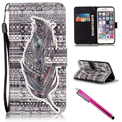 iPhone 5S Case, iPhone 5 Wallet Case, Firefish [Kickstand] [Shock Absorbent] Double Protective Case Flip Folio Slim Magnetic Cover with Wrist Strap for Apple iPhone 5/5S/SE-Feather
