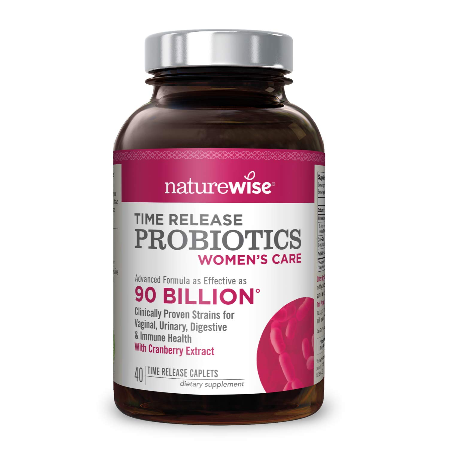 NatureWise Probiotics for Women 90 Billion — Time-Release Probiotic Supplement with Cranberry & D Mannose for Vaginal, Urinary, Digestive and Immune Health (Packaging May Vary)