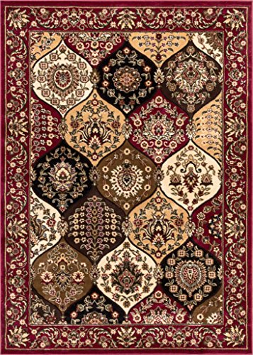 Dynasty Panel Red Multi Oriental Floral Geometric Modern Casual Area Rug 5x7 ( 5'3