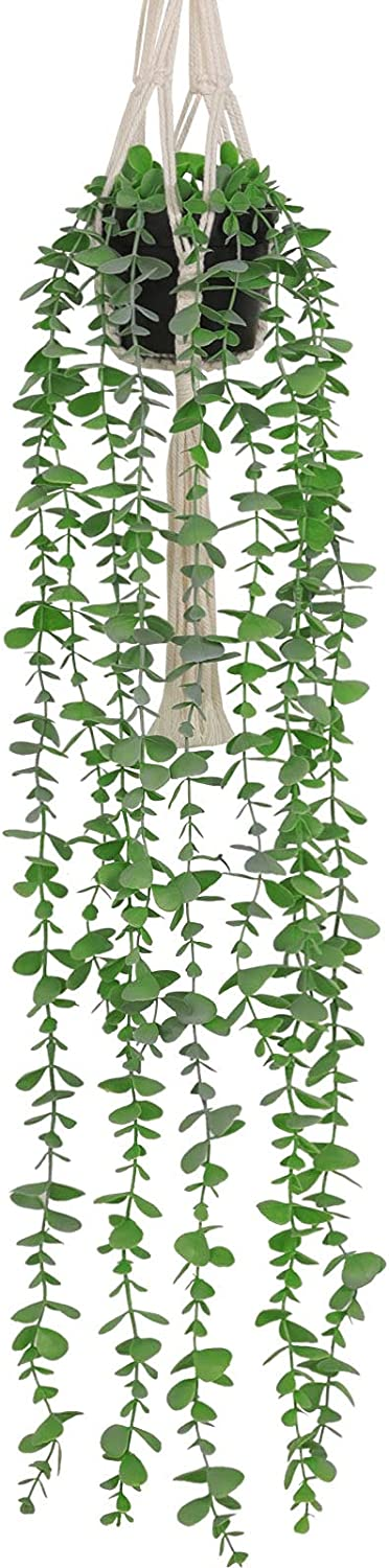 Asano Season Fake Plants Artificial Eucalyptus with Hanging Plant Hanger 2.6 FT Faux Greenery Vine Potted Plants in Black Pot and Cotton Rope for Boho Home Green House Garden Indoor Bedroom Décor