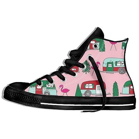 DYWGYSFW67 Zapatillas de camping de Navidad, diseño de flamenco con imagen de árbol de coche