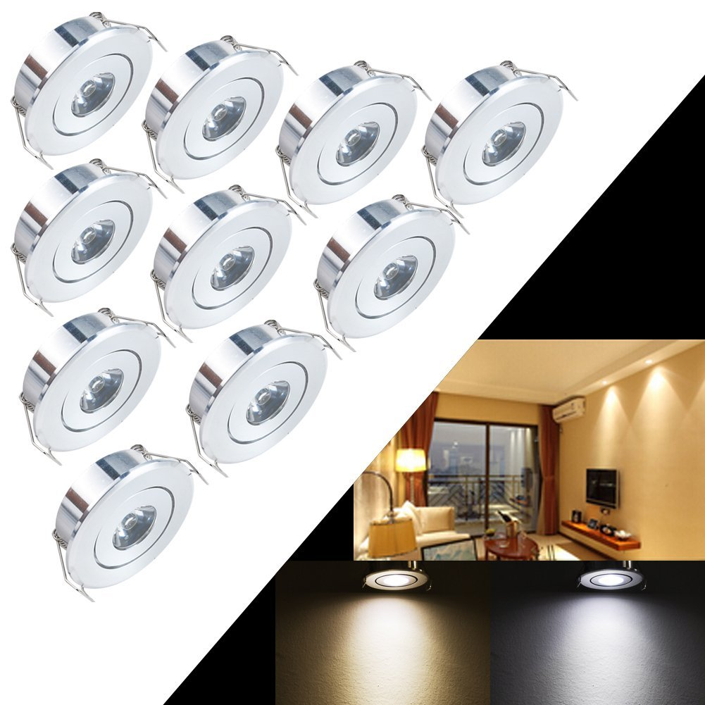 INHDBOX 10 Pack CREE LED 1W Mini Recessed Ceiling Downlight Kit Warm White 3000-3500K - Silver Aluminum Light Shade & Acrylic Mirror With LED Driver -Warm Light