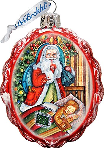 G. Debrekht Santas Christmas Night Glass Ornament Figurine for sale  Delivered anywhere in USA