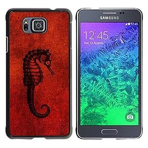 Be Good Phone Accessory // Dura Cáscara cubierta Protectora Caso Carcasa Funda de Protección para Samsung GALAXY ALPHA G850 // Seahorse Red