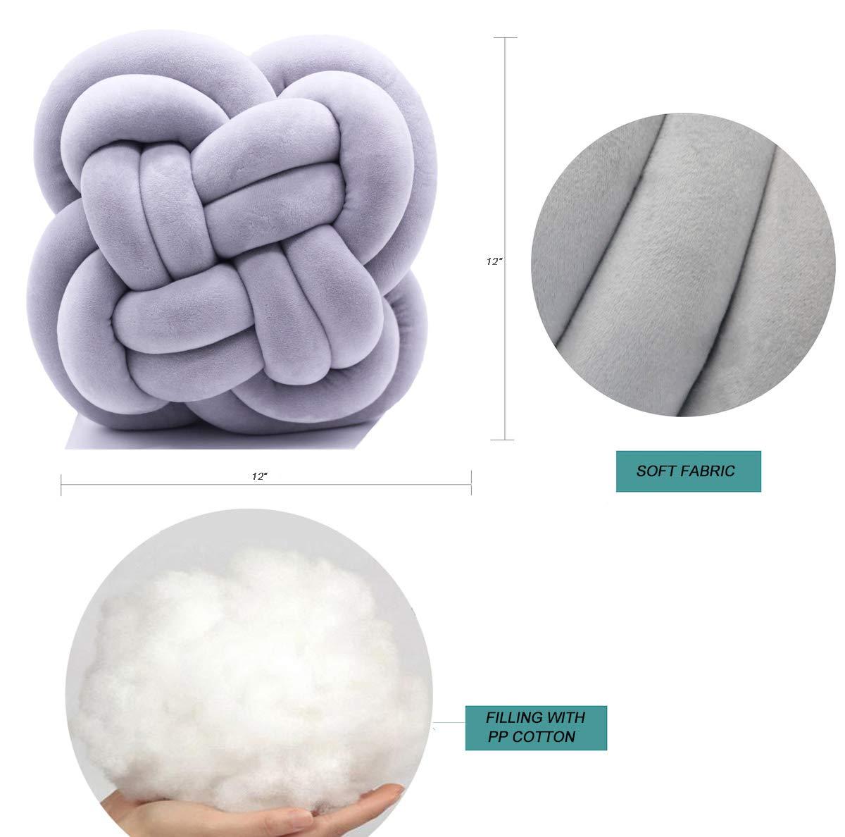 FLORAVOGUE Large Knot Pillow Decorative Cushion – Modern Home Sofa Decor Pillows Pillow Light Gray