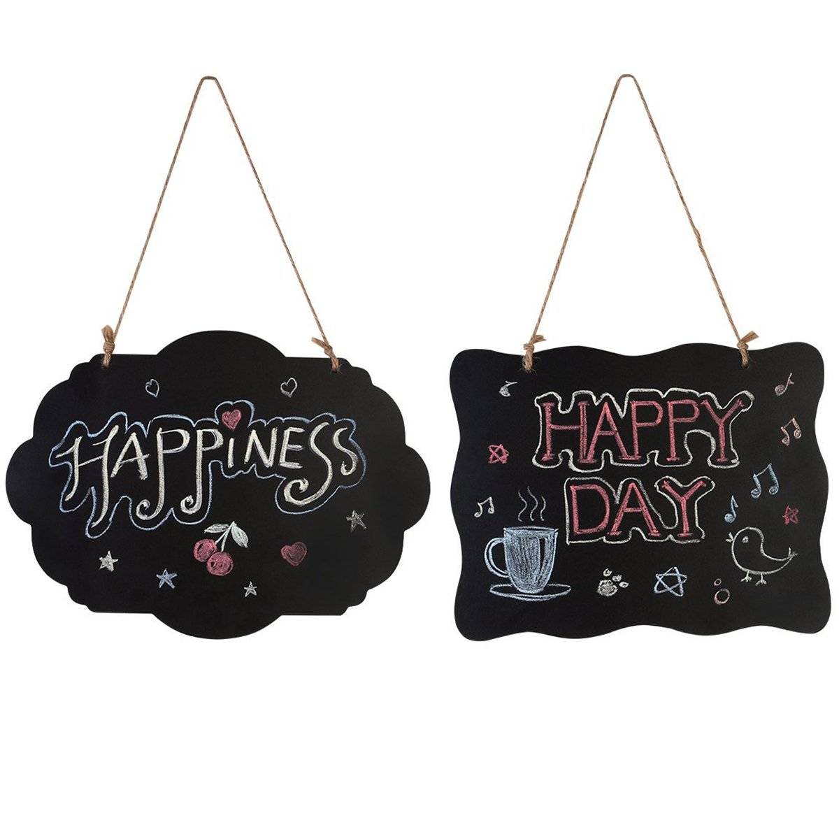 HOMEMAXS Chalkboard Sign Double-Sided Message Board with Hanging String - 2 Pack (2Pack) SYNCHKG104094