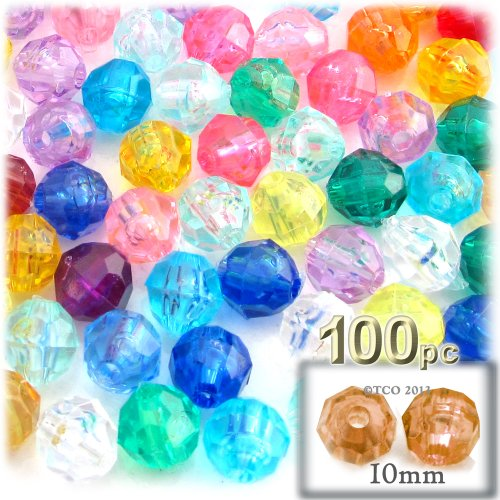 (The Crafts Outlet 100-Piece Faceted Plastic Transparent Round Beads, 10mm, Multi)