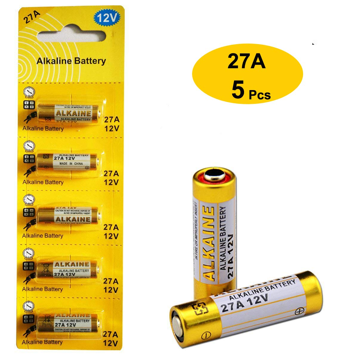 27A 12V Alkaline Battery (5-Pack) LiCB LW-27A-5