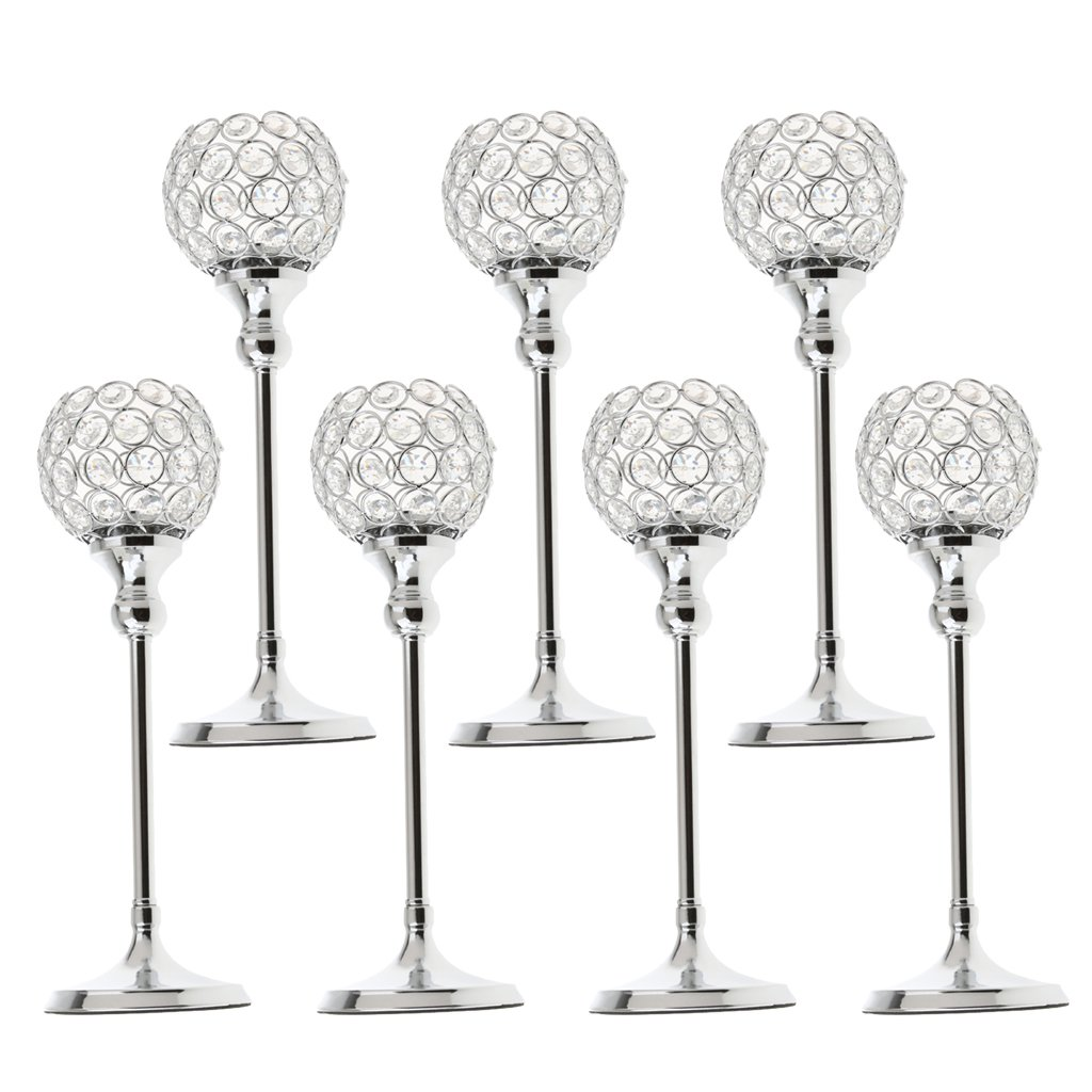 MagiDeal 7 Pieces Silver Crystal Votive Candle Holders for Christmas Home Decor Wedding Coffee Table Centerpiece Holiday Decoration Candelabra