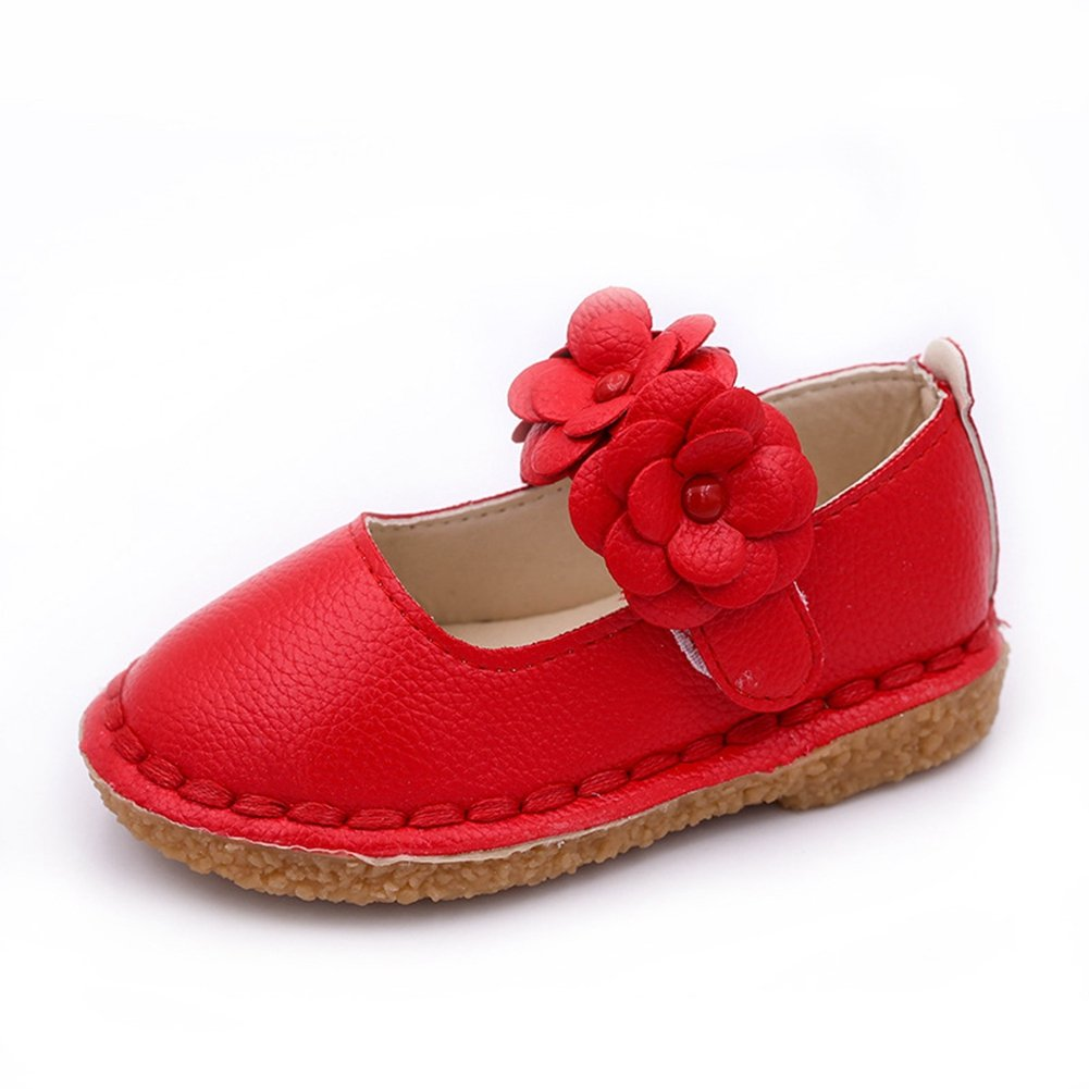 CYBLING Cute Girl Flower Mary Jane Flat Princess Dress Shoes for Toddler Little Kid Red