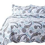 Bedsure 3-Piece Bedding Quilt set Coverlet King size 106x96 with Two Pillow Shams,Paisley Blue Pattern, Lightweight Design for Spring and Summer