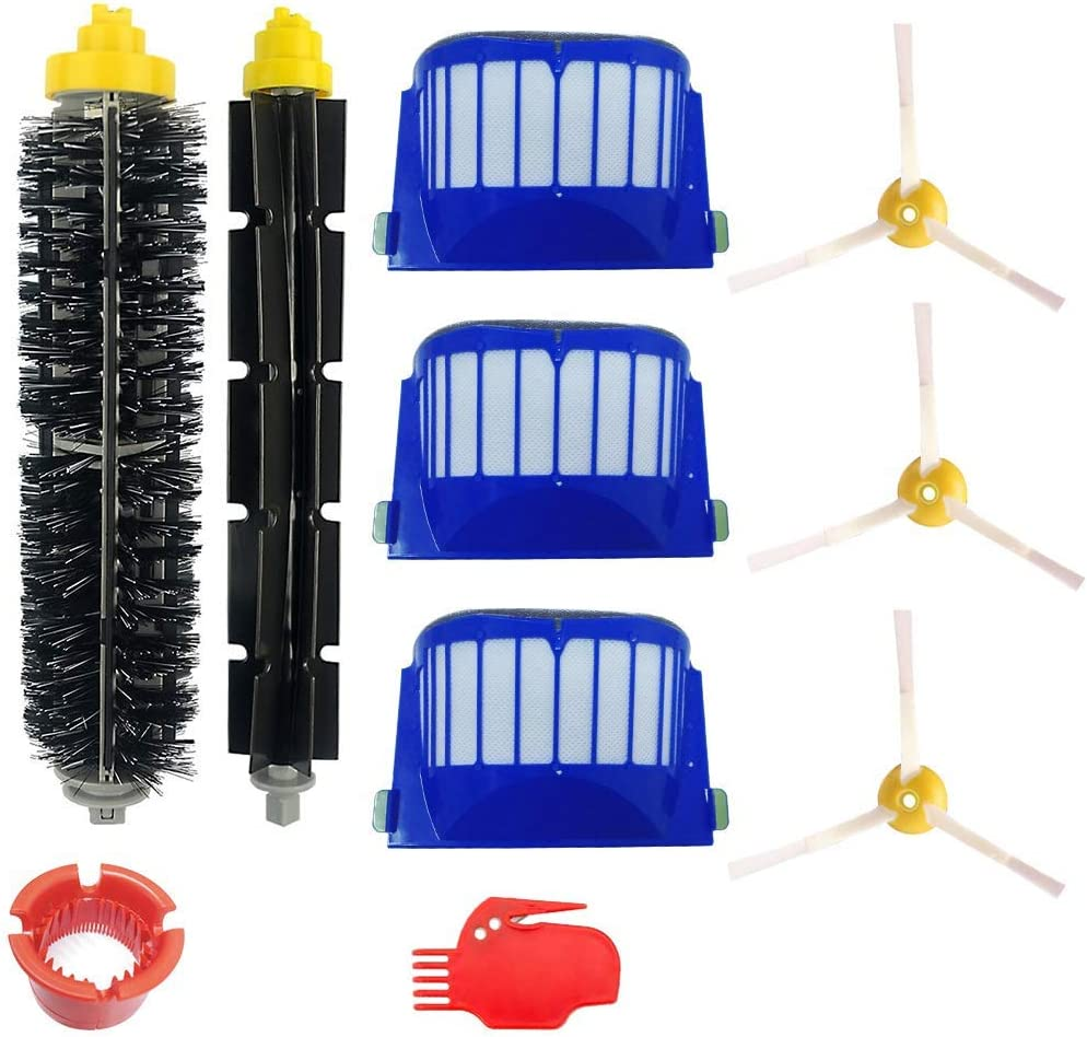 Accessory for Irobot Roomba 600 610 620 650 Series Vacuum Cleaner Replacement Part Kit - Includes 3 Pack Filter, Side Brush, and 1 Pack Bristle Brush