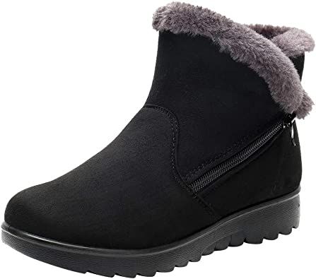 Ladies Womens Low Wedge Heel Pull On Fur Lined Ankle Boots Winter Size Casual