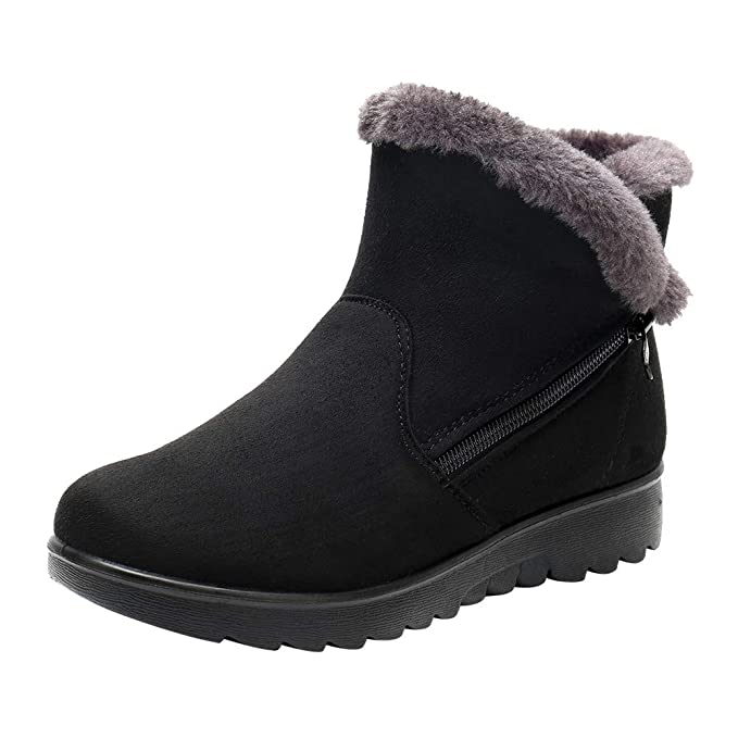 2f06d366bb5 Womens Winter Ankle Boots, Ladies Snow Boots, Martin Booties Faux Fur Plush  Zipper Footwear Warm Cotton Shoes