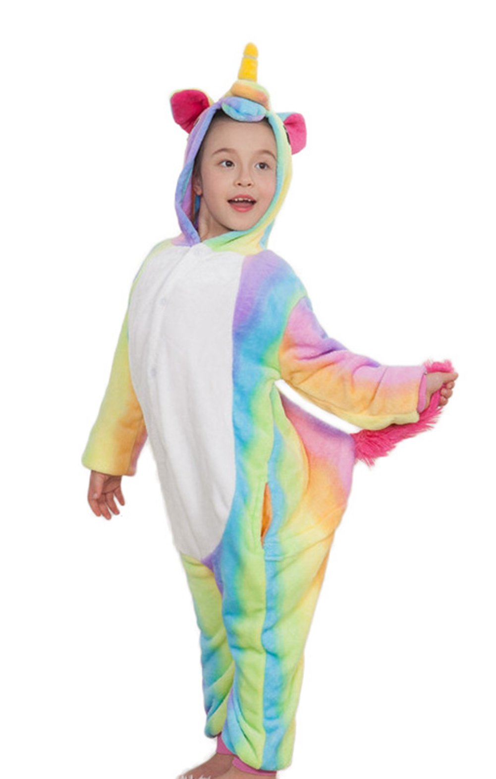 Goldtry Soft Flannel Child Cosplay Costumes Pajamas Cute Kids Multi-Colors Unicorn Onesie Gift Rainbow 105#