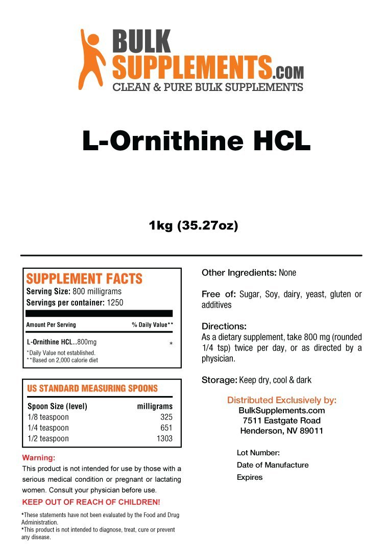 BulkSupplements L-Ornithine HCL Powder (5 Kilograms)