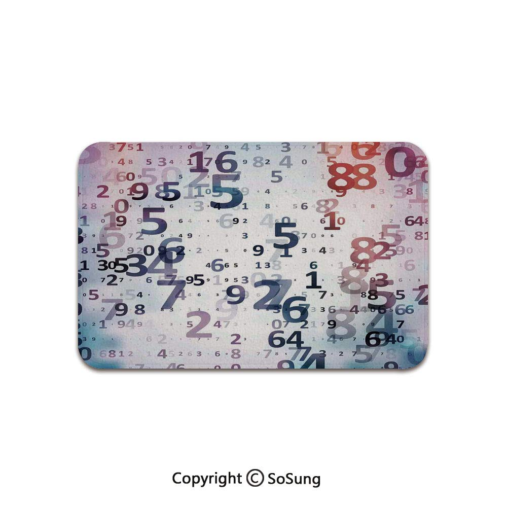 Abstract Home Decor Area Rug,Digital Code Numbers Computer Database Science Information Technology Themed Art,for Living Room Bedroom Dining Room,5'x 3',Teal Black by SoSung