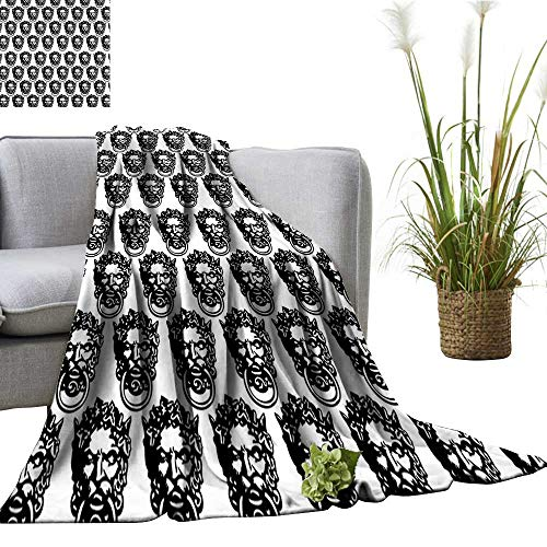 YOYI Single-Sided Blanket ochrome Medieval Knocker Old Antique Head ouche Gothic Theme Black for Bed & Couch Sofa Easy Care 60