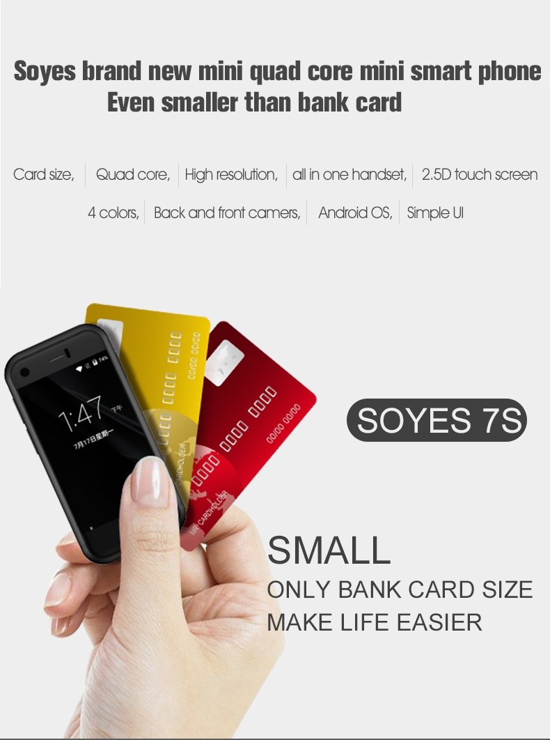 0516058d15b SOYES 7S Super Mini Android Smart Mobile Phone 1GB RAM 8GB ROM 5.0MP Quad  Core Dual SIM Dual standby Unlocked Pocket Cell Phone (Black)   Amazon.co.uk  ...