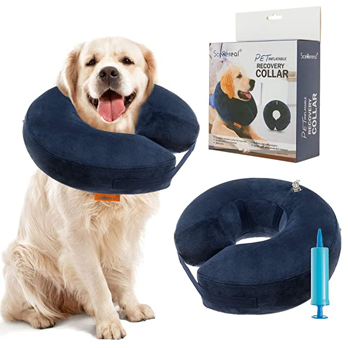 SCENEREAL Inflatable Recovery Collar for Dogs & Cats - Surgery Dog Collars E-Collar for Preventing Pets from Biting Licking Wound, L best inflatable pet collar