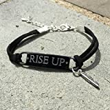 Rise Up Gunmetal Suede Leather Bracelet with Clasp
