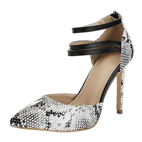 c0804491bf4 Zapato de Tacón Alto Bombas Sandalias Anillo de Pie Patrón Piel de Serpiente  Punta Piel de Serpiente Verano Tacon Medio para Mujer  Amazon.es  Zapatos y  ...