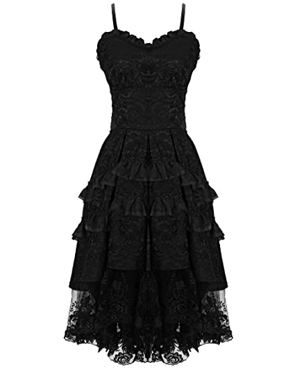 Dark In Love Gothic Prom Dress Black VTG Steampunk Victorian Lace Evening Formal